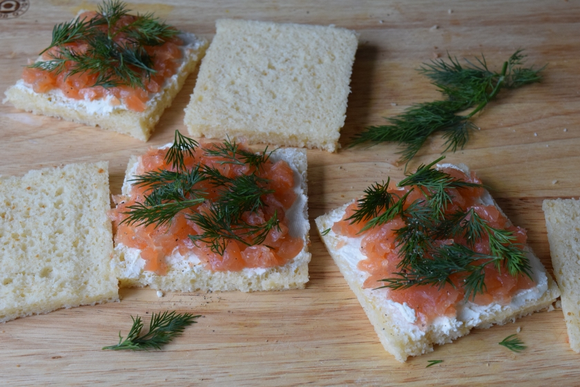 Salmon and dill sandwiches